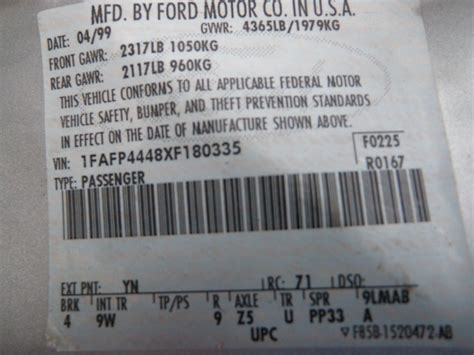 where to find paint code on ford mustang