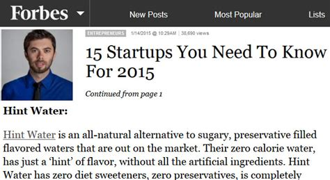 Hints You Need To Now by Hint Water In Forbes 15 Startups You Need To