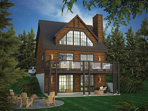 vacation cabin plans vacation home plan with rear facing views 90297pd architectural designs house plans