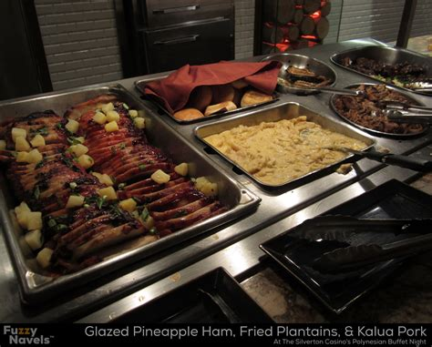 Pineapple Ham Kalua Pork And Fried Plantains At The Ham Buffet Menu