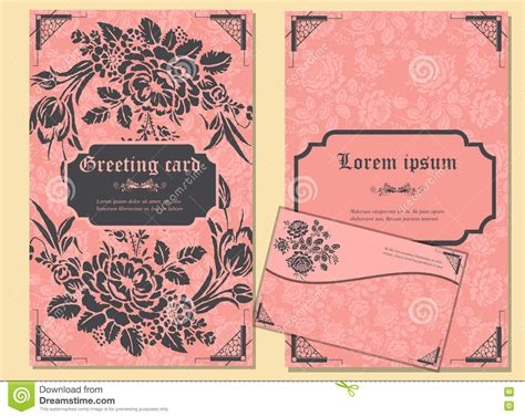greeting card envelope printing template set of greeting cards and envelope in a luxurious vintage