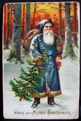 time santa claus painting  father christmassanta claus  blue robes  brown fur