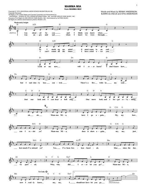 new year song pdf mamma chords by abba melody line lyrics chords