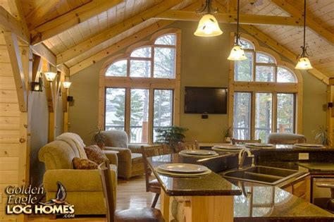Log Cabin Homes Interior Kitchen Living Room Custom Hybrid Timber Frame North