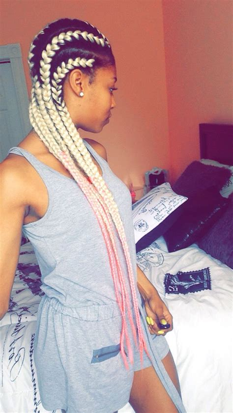 blonde pink black braids black women protective hairstyles these blonde and link