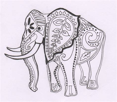 color elephant tattoo free coloring pages of henna elephant