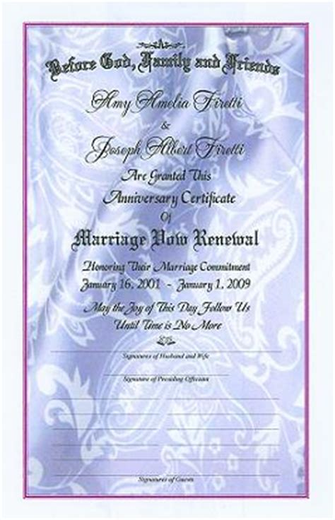 vow card template free printable vow renewal ceremony planner