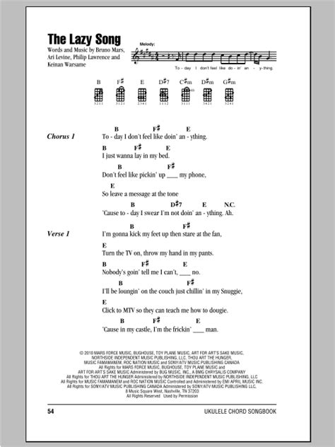 ukulele tutorial lazy song the lazy song sheet music direct
