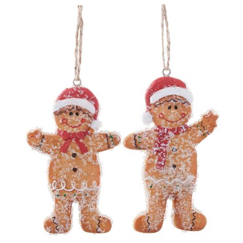 mr mrs gingerbread man hanging christmas tree