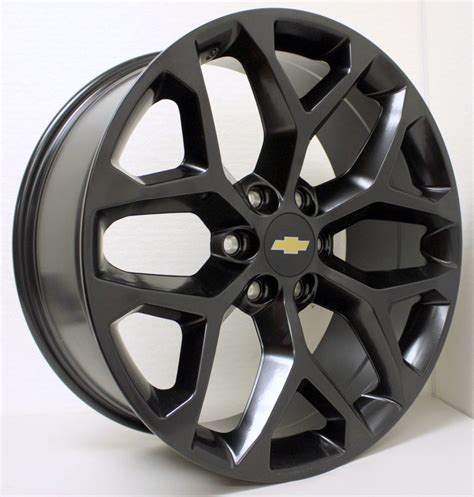 Chevrolet Wheels by New 22 Inch Chevy Black Snowflake Wheels Rims Silverado