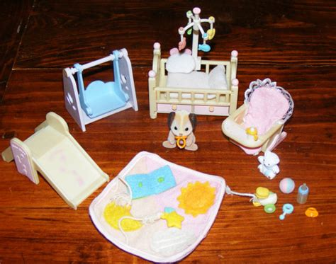 Vintage Calico Critters Big Lot Baby Puppy Dog And Nursery Set Big Lots Baby Cribs