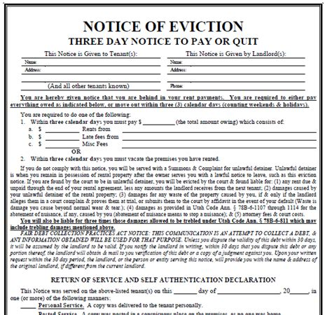 printable three day eviction notice printable sle 3 day eviction notice form real estate