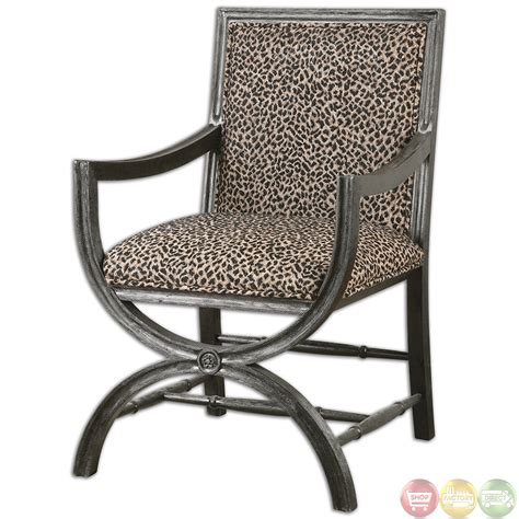 leopard accent chair cyerra leopard print wood frame safari accent chair 23176