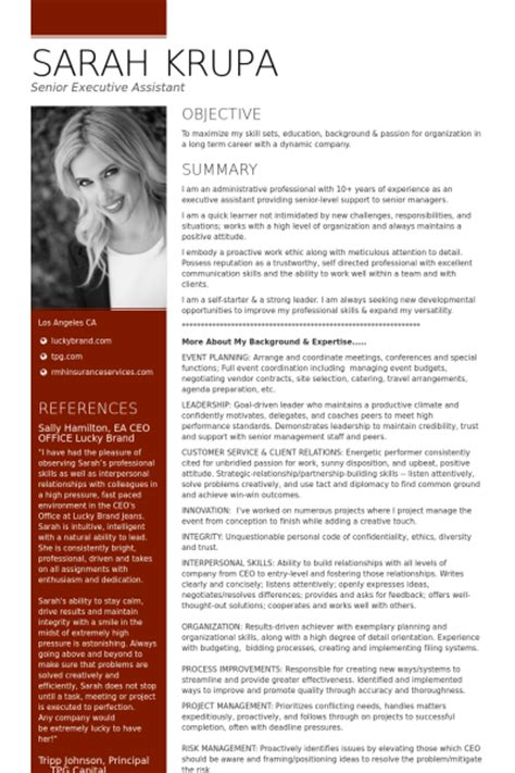 resume exles for executive assistants to ceo senior executive resume sles visualcv resume sles