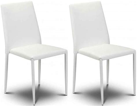 White Leather Dining Chair Buy Julian Bowen Jazz White Faux Leather Dining Chair Stacking Chair Pair Cfs Uk