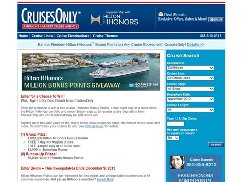 Hilton Hhonors Sweepstakes - hilton hhonors cruises 1 000 000 points giveaway