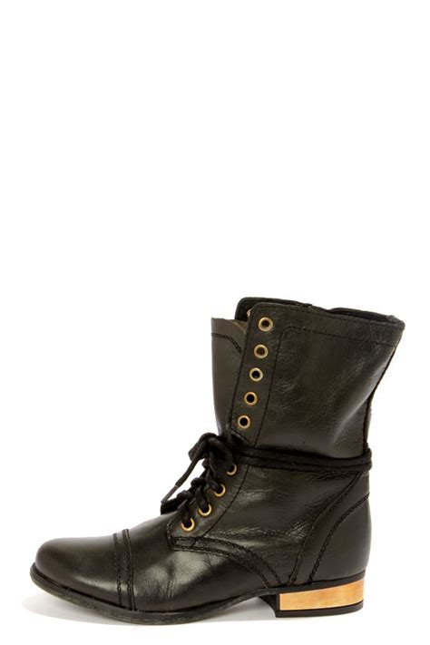 steve madden troopale black gold leather lace up combat