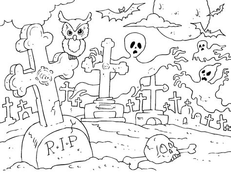 imagenes de halloween sin color cementerio fantasma para imprimir paracolorear net
