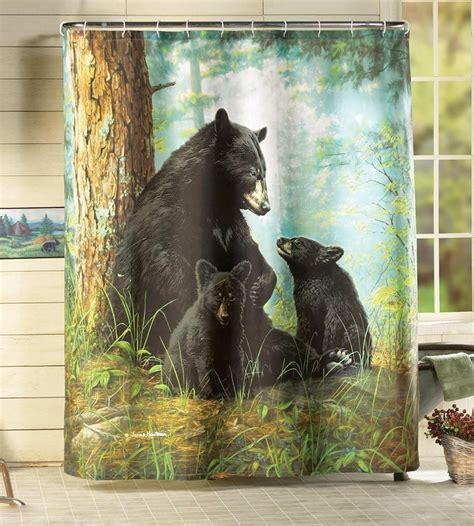 black bear shower curtains woodland black bear family rustic lodge cabin fabric