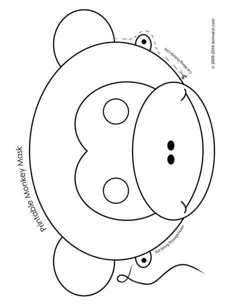 templates for animal masks printable monkey mask color woo jr activities