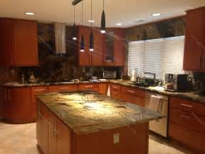 Pictures Of Kitchen Countertops And Backsplashes Val D Desert Dream Granite Kitchen Countertop Island