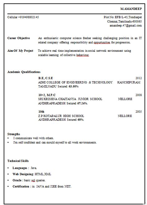 Resume Format Pdf For Engineering Freshers Professional Resume Format For Fresher Engineer