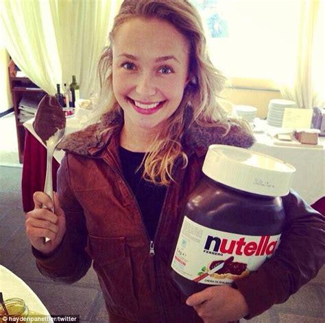Hayden Panettiere Licks by Hayden Panettiere Cradles 5kg Tub Of Nutella On