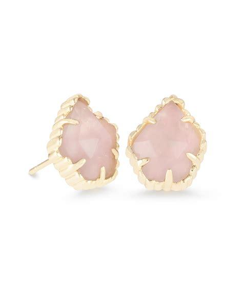rose quartz l shop kendra scott tessa stud earrings in rose quartz in