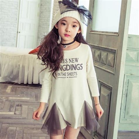 Topi Fashion Kpop Letter Simple 2017 dresses 2015 new korean children clothing