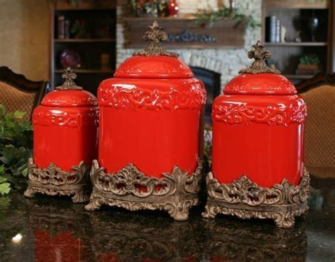 drake kitchen canisters drake design large red fleur de lis canister set free