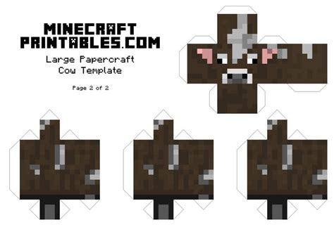 minecraft cow template minecraft printable cow template large page 2