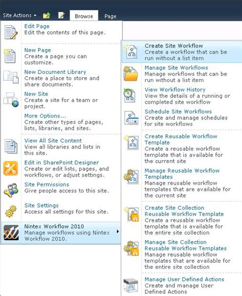 sharepoint 2010 workflow actions workflow actions not available in nintex workflow 2010