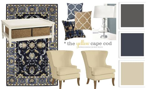 Ballard Design Reviews the yellow cape cod blue beige and charcoal family room