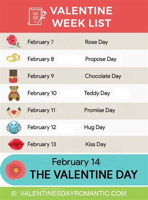 s day list happy valentines day 2017 week list schedule timetable
