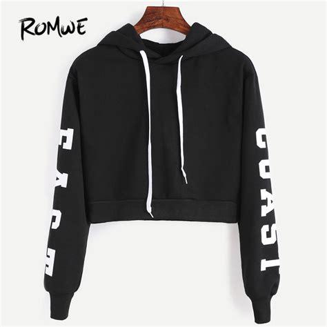 romwe cropped hoodie black hooded letters print crop sweatshirt autumn streetwear