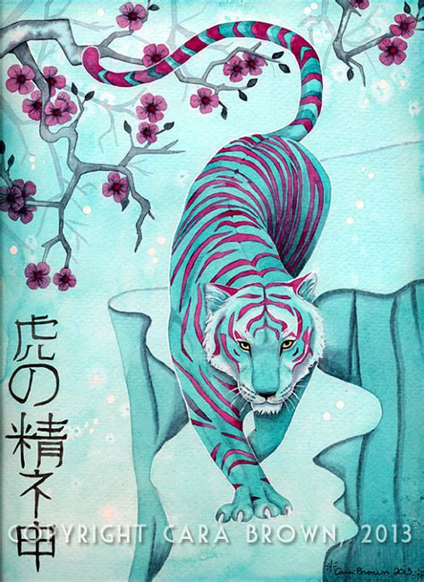 tiger painting in watercolor poster in shades of teal and red