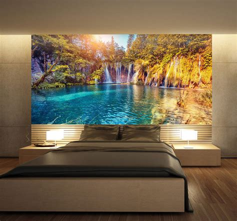 whole wall murals croatia nature lake waterfal wall mural photo wallpaper print home 3d decal aud 32 50