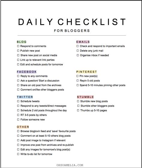 end of day checklist template my daily blogging tasks free checklist blogging check