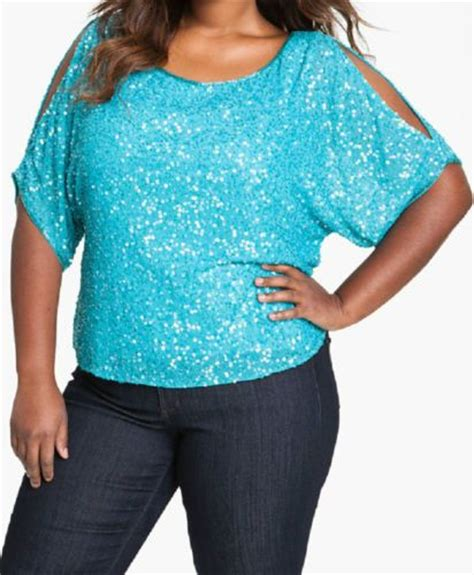 Blouse Big Kara j kara sequin blouse aqua blue cold shoulder top plus 3x ebay cool stuff i found on ebay
