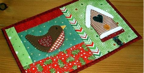 display  winter birdhouse mug rug  season long quilting digest