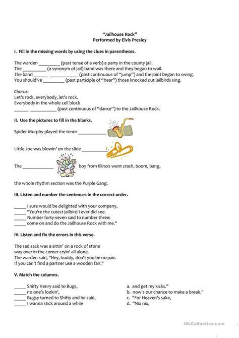 printable lyrics to jailhouse rock jailhouse rock worksheet free esl printable worksheets
