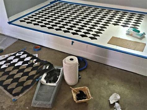 a garage floor overhaul using the fishscale stencil