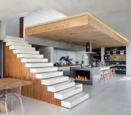 open staircase serves as partition