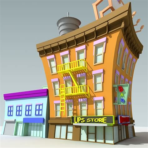 Loz Mini 1601 Convenience Store downtown building 3d max