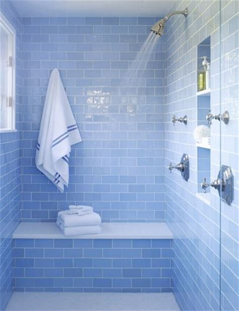 blue subway tile bathroom sky blue glass subway tile pinterest love the showers