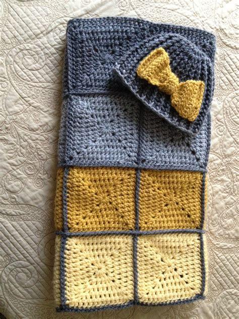 pattern matching tasker gray yellow granny square baby blanket matching hat