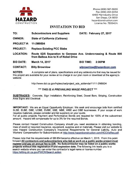 invitation to bid construction futureclim info
