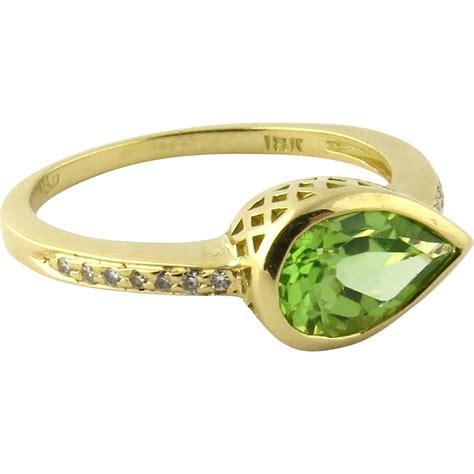 3 95 Ct Peridot Jg vintage 18k yellow gold tear drop peridot and ring