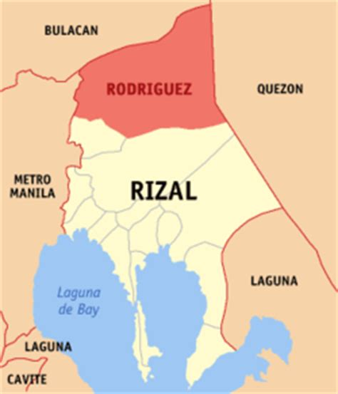 san jose rodriguez rizal map map of rizal showing the locationof rodriguez or montalban