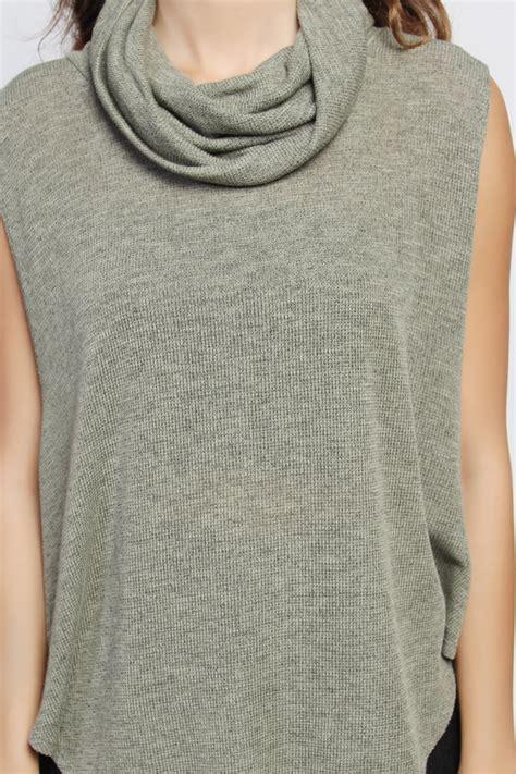 draped cowl neck sweater themogan sleeveless draped cowl mock neck loose fit knit
